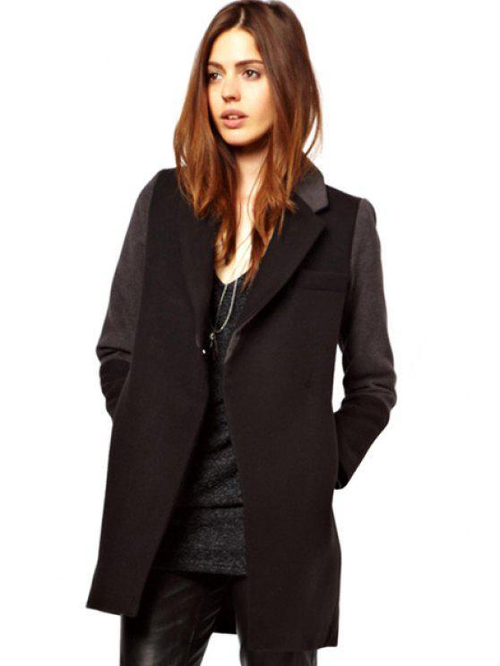 outfits Color Block Lapel Coat - BLACK XS
