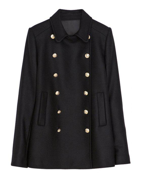 women Lapel Black Double-Breasted Coat - BLACK XS