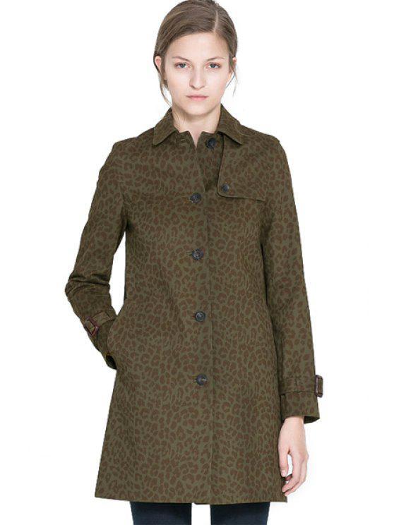 lady Long Sleeve Leopard Print Coat - LEOPARD XS