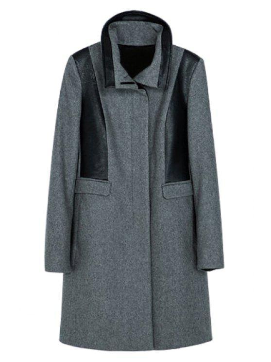 sale PU Leather Splicing Coat - GRAY XS