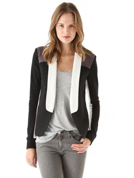 unique Long Sleeve Color Block Blazer - BLACK XS
