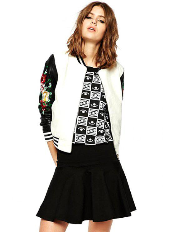 unique Embroidery Color Block Jacket - WHITE AND BLACK XS
