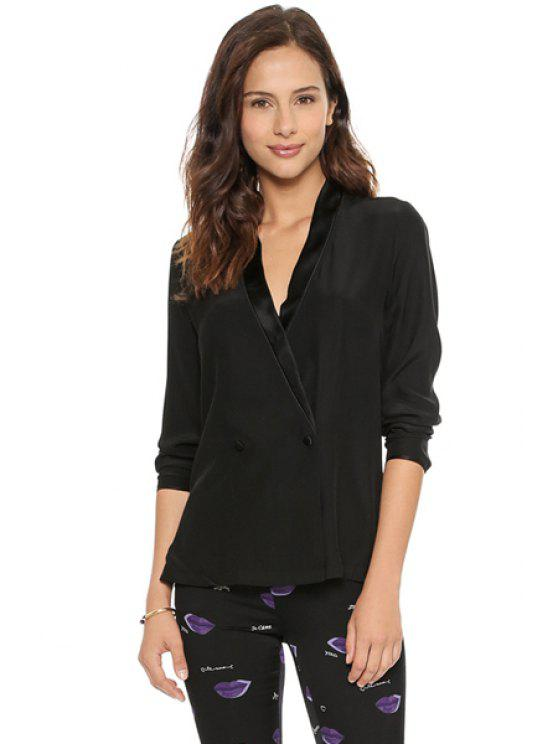 buy Black Double-Breasted Blazer - BLACK M