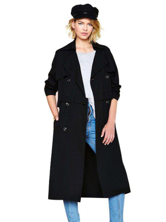 fashion Long Sleeves Solid Color Trench Coat - BLACK XS