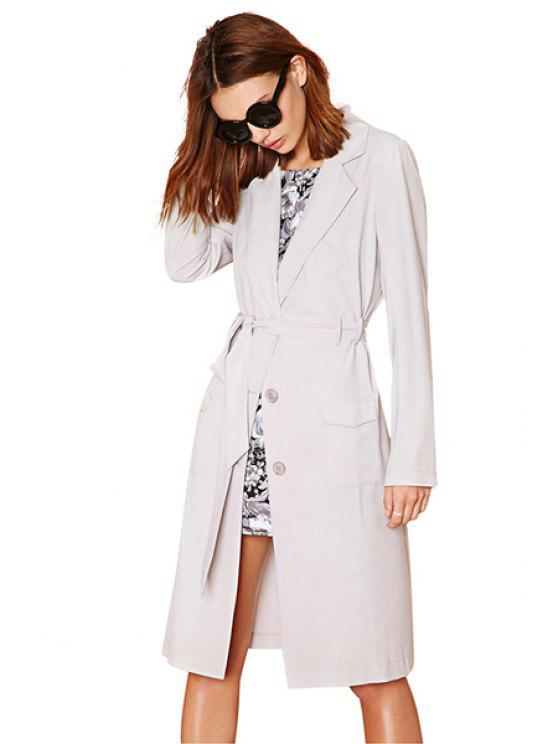 best Solid Color Lapel Neck Trench Coat - KHAKI XS