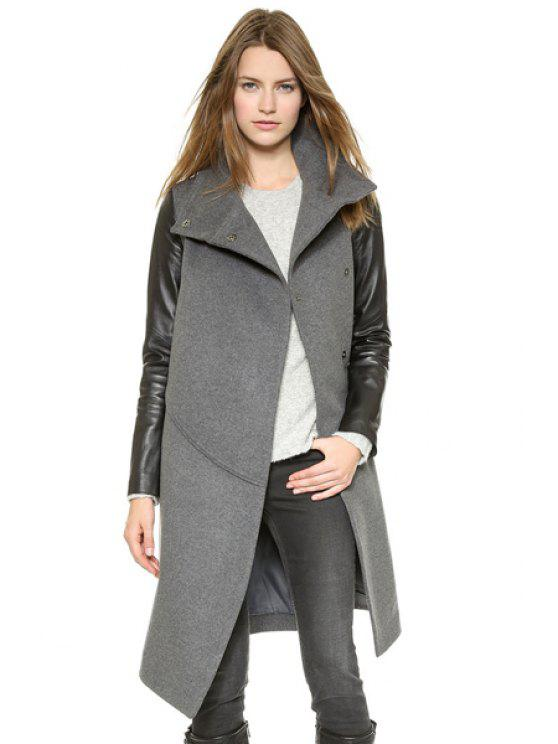 trendy Stand Collar PU Leather Splicing Coat - BLACK AND GREY M