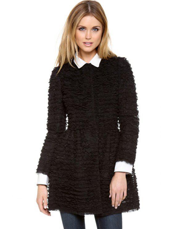 women's Black Lace Long Sleeve Coat - BLACK XS