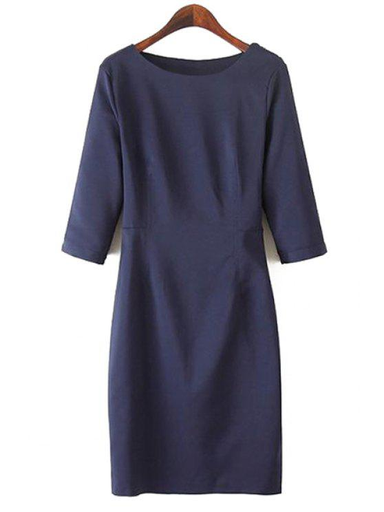 hot Half Sleeve Solid Color Dress - CADETBLUE S