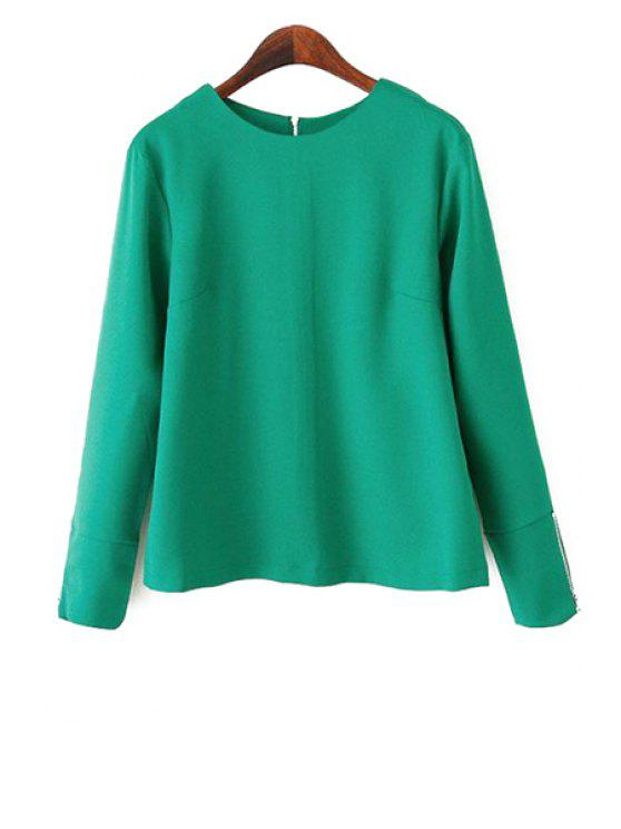 outfits Solid Color Round Collar Blouse - GREEN S