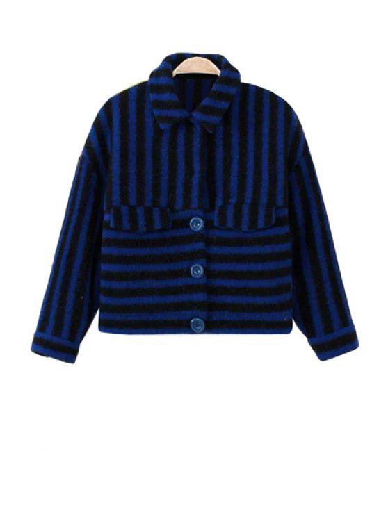 unique Striped and Print Splicing Jacket - BLUE XS