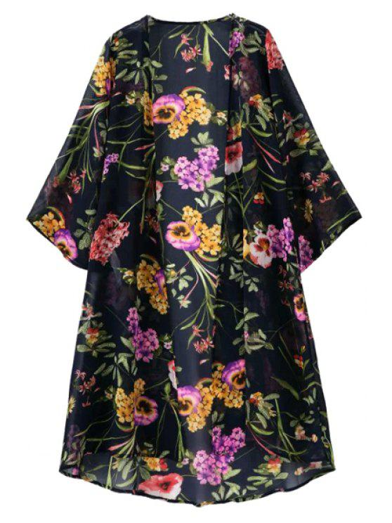 women's Floral Nine-Minute Sleeve Blouse - BLACK S
