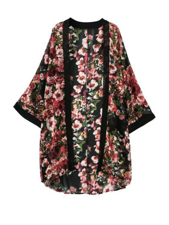 hot Floral Print Chiffon Blouse - RED S