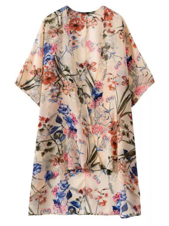 fashion Half Sleeve Floral Print Blouse - APRICOT S