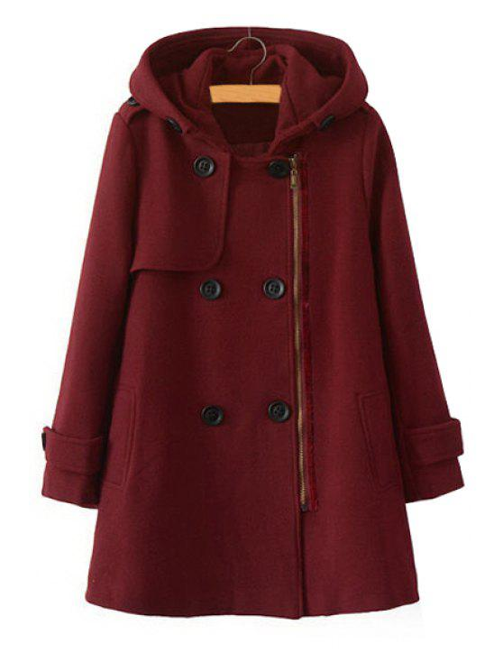 latest Hooded Worsted Solid Color Coat - WINE RED M