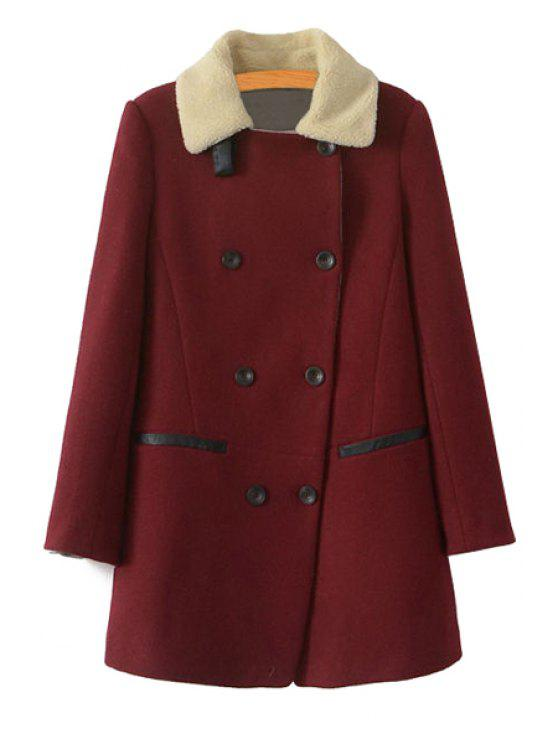 outfit Turn-Down Collar Double-Breasted Coat - WINE RED M
