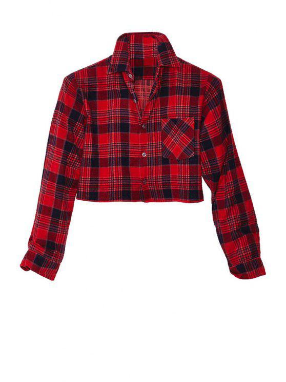 affordable Plaid Long Sleeve Crop Top - RED XS