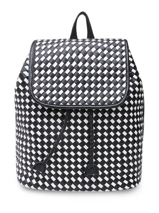 online String Weaving PU Leather Satchel - WHITE AND BLACK