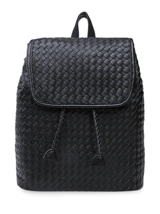shops String Weaving PU Leather Satchel - BLACK