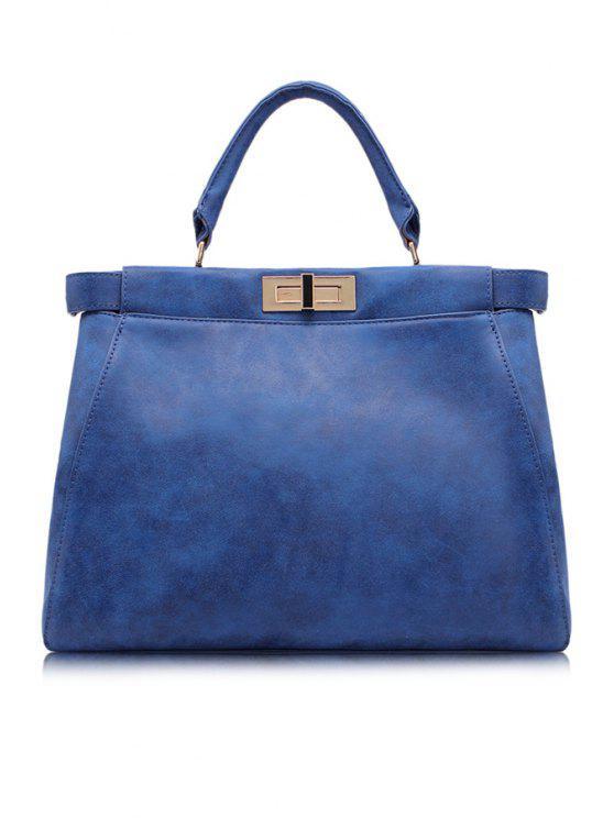 women's Solid Color Hasp Zipper Tote Bag - BLUE
