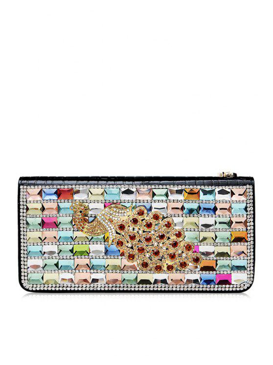 online Rhinestones Zipper PU Leather Clutch Wallet - BLACK