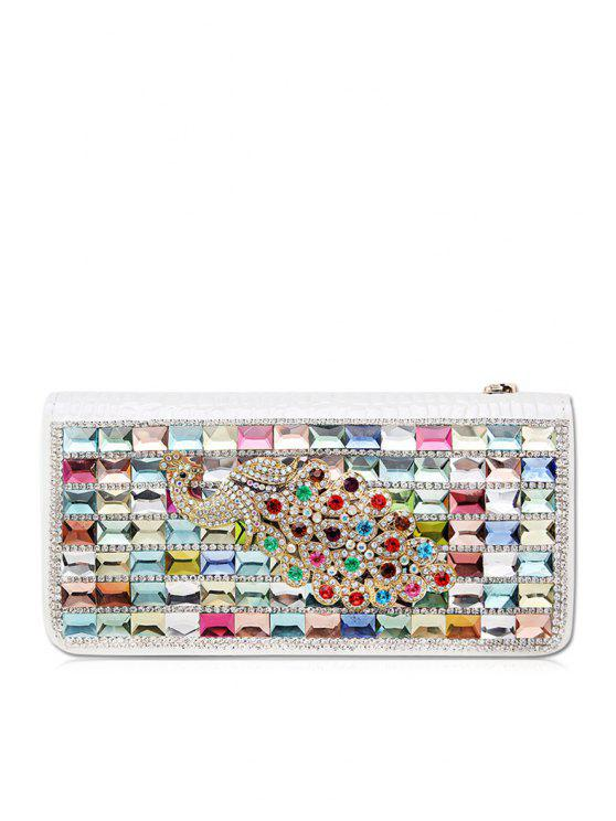 outfit Rhinestones Zipper PU Leather Clutch Wallet - WHITE