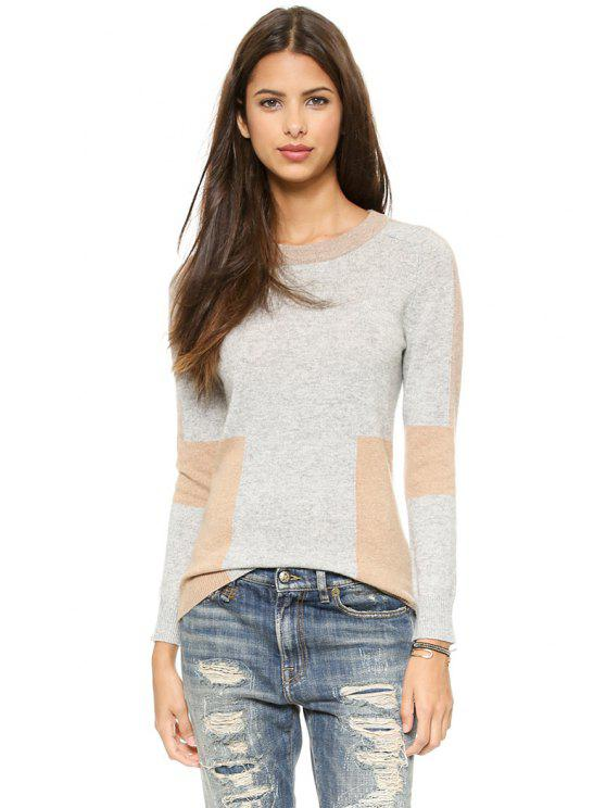 fashion Jewel Collar Color Block Sweater - GRAY S