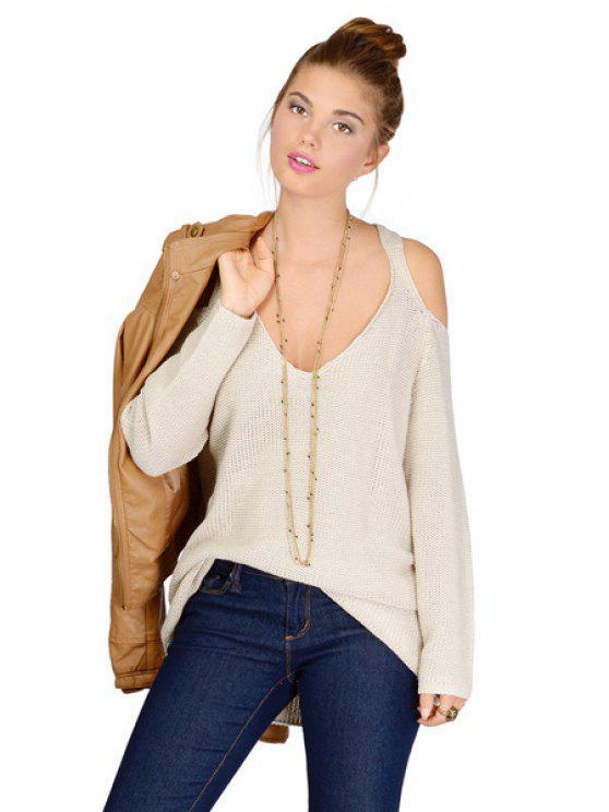 f28e566149 2019 V-Neck Off-The-Shoulder Sweater In OFF-WHITE M