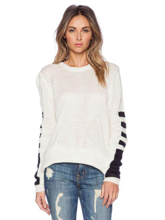 ladies Long Sleeves Striped Splicing Sweater - WHITE XS