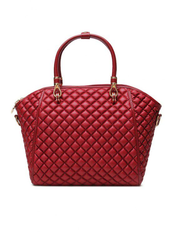 best Zipper Checked PU Leather Tote Bag - DARK RED