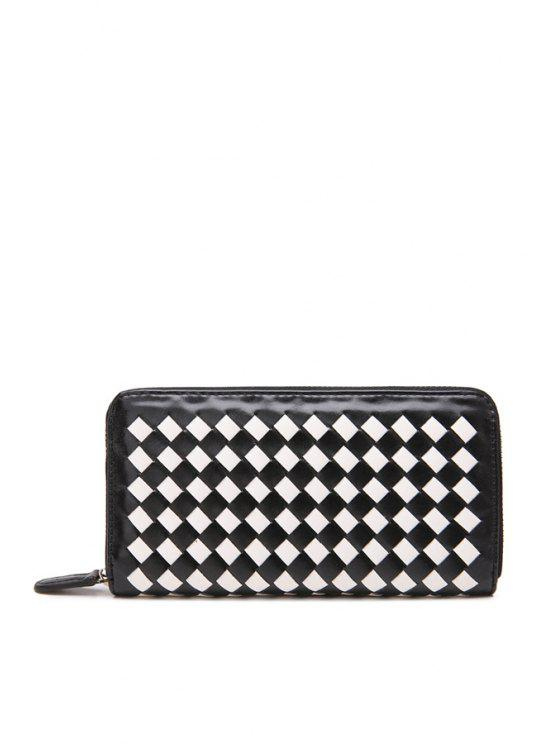 outfits Weaving Zipper PU Leather Clutch Wallet - WHITE AND BLACK