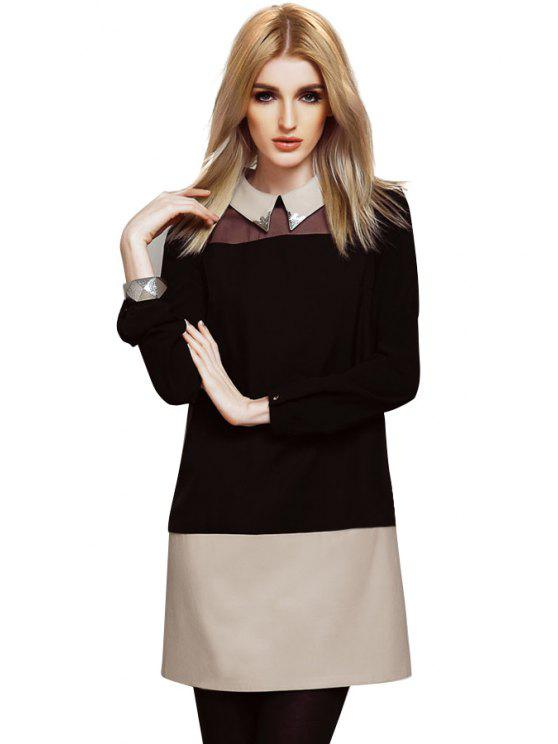 trendy PU Leather Splicing Dress - APRICOT S
