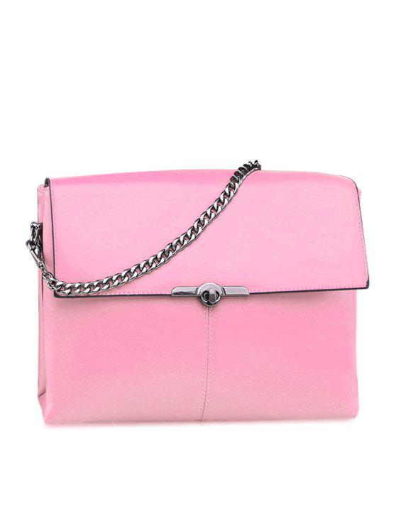 outfits Solid Color Chain Metallic Tote Bag - LIGHT PINK