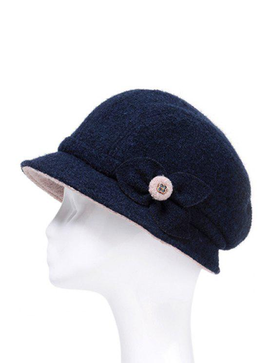 lady Leaf Design Solid Color Bucket Hat - SAPPHIRE BLUE