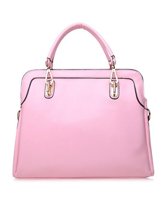 shop Metallic Solid Color Zipper Tote Bag - LIGHT PINK