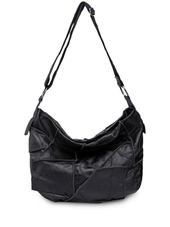 womens Black Splice PU Leather Crossbody Bag - BLACK
