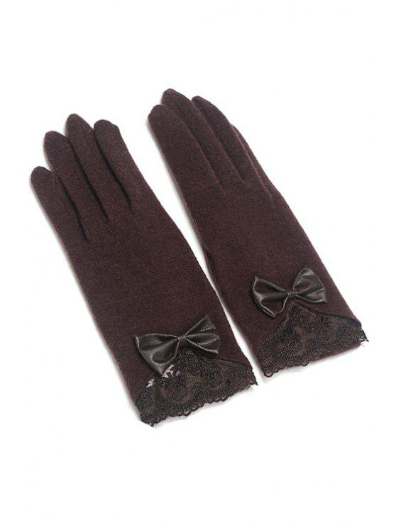 lady Bowknot Lace Embellished Gloves - COFFEE