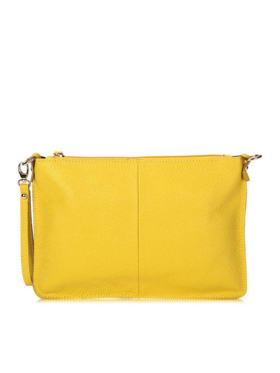 women Candy Color PU Leather Clutch Bag - YELLOW