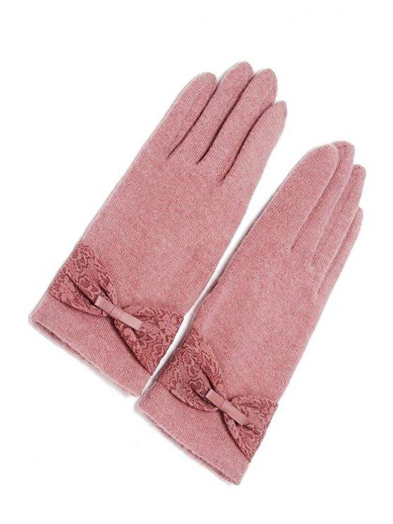 trendy Bowknot Lace Touch Screen Gloves - PINK