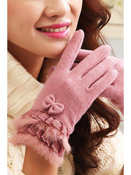 best Lace Splicing Touch Screen Gloves - PINK