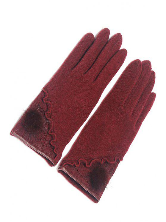 outfit Hairball Ruched Design Gloves - WINE RED
