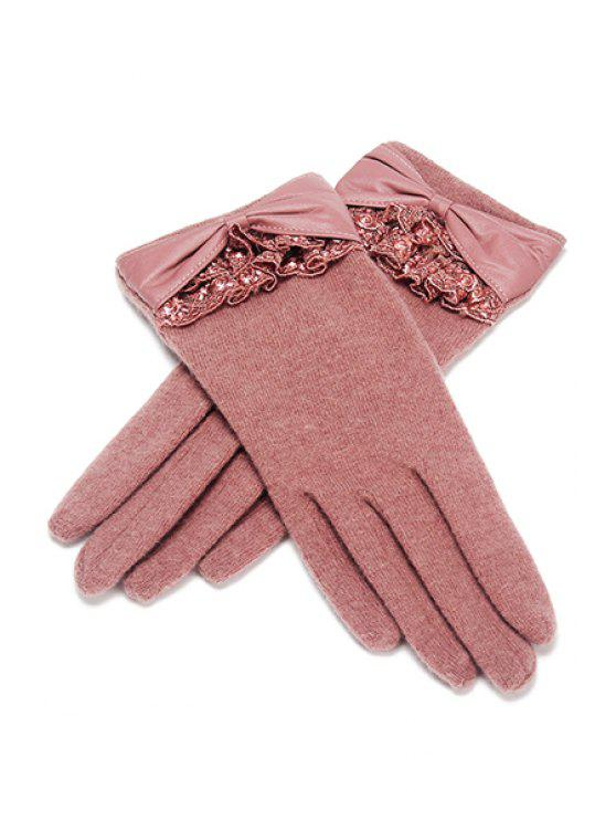 ladies Lace PU Bowknot Gloves - PINK