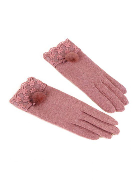 latest PU Splicing Lace Gloves - PINK