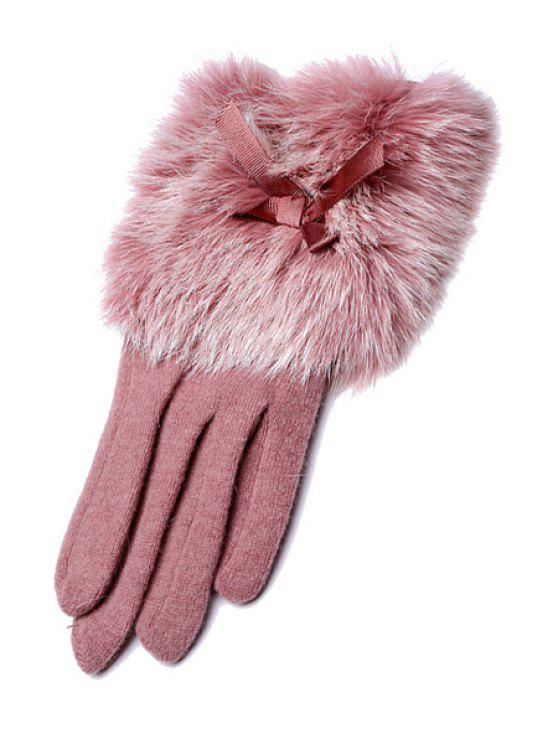 women Bowknot Faux Fur Gloves - PINK