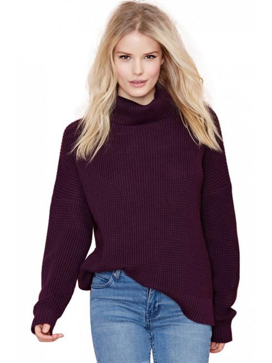 Solid Color Turtle Neck Seiten-Schlitz Sweater - Dunkelrot L