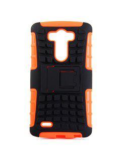 Plastique élégant Et TPU Stand Back Cover Case De Conception De Texture De Pneu Pour LG Optimus G3 - Orange