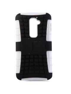 Elegante Carcasa De Plástico Y TPU Para El Diseño De Textura De La Carcasa Para LG Optimus G2 - Blanco