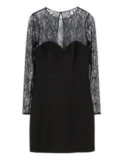 Lace Splicing Black Long Sleeve Dress - Black 2xl