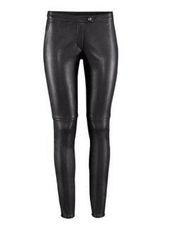 Solid Color PU Leather Narrow Feet Pants - Black Xl