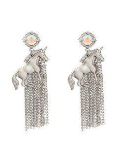 Pair Of Solid Color Tassel Earrings - Silver