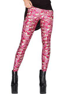 Cartoon Pattern Elastic Waist Leggings - Red